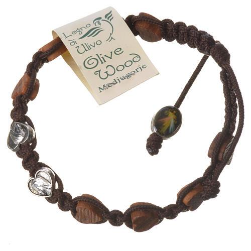 Bracciale Medjugorje corda marrone grani olivo cuore 2