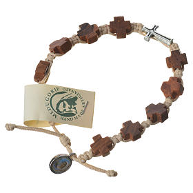 Bracelets, dizainiers: Bracelet grains olivier coeur corde beige Medjugorje