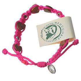 Armband Medjugorje Herz-Perlen und pink Band s1