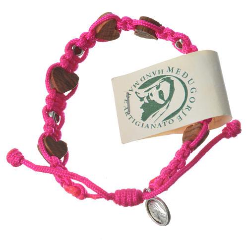 Armband Medjugorje Herz-Perlen und pink Band 1