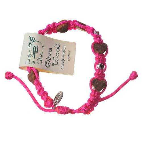 Armband Medjugorje Herz-Perlen und pink Band 2