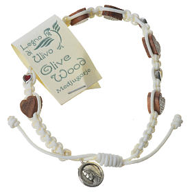 Bracelets, dizainiers: Bracelet olivier coeur Medjugorje corde blanche