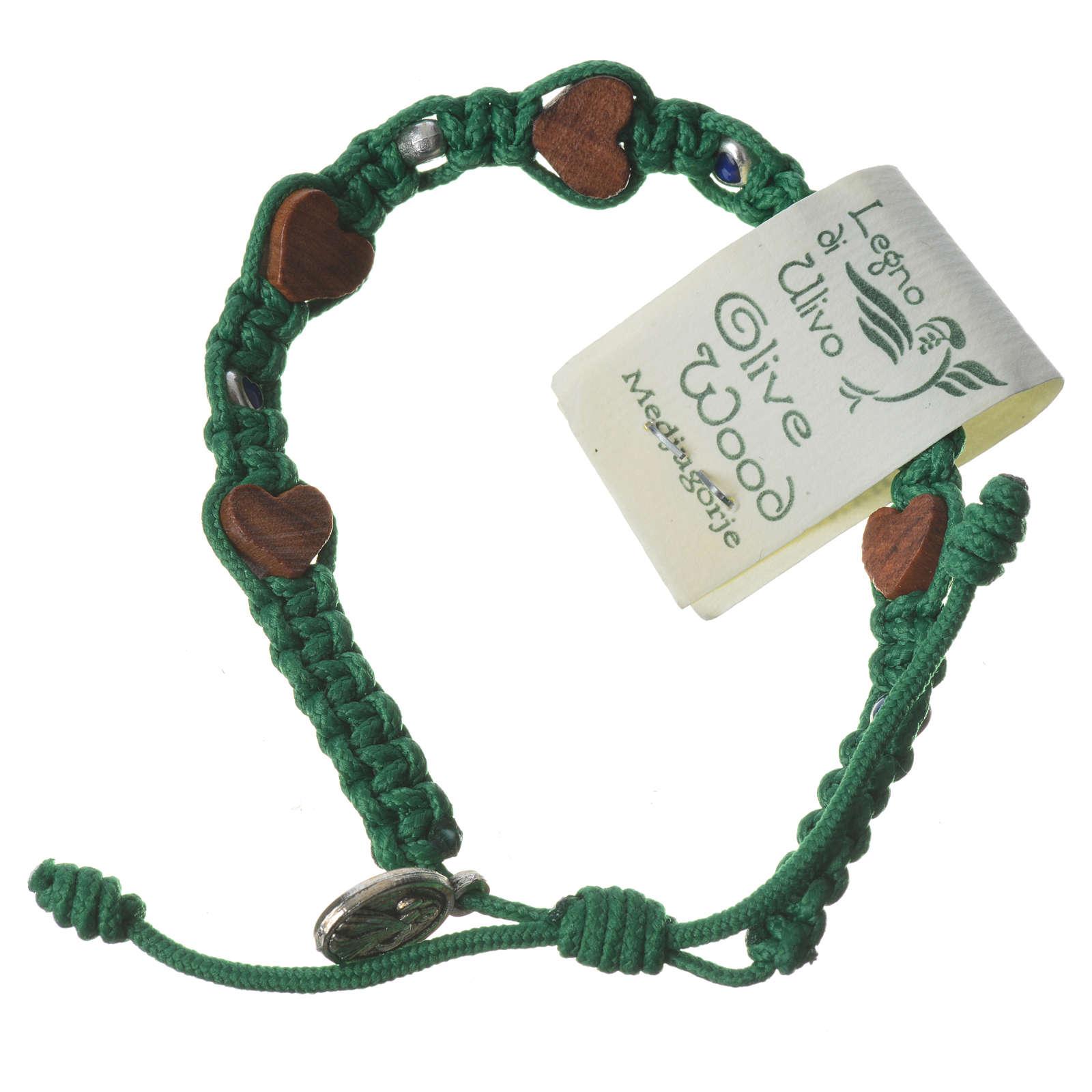 Bracciale ulivo cuori Medjugorje corda verde 4