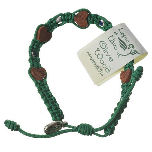 Bracciale ulivo cuori Medjugorje corda verde 1