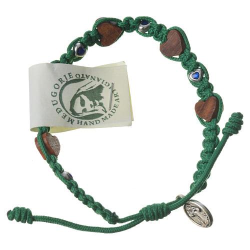 Bracciale ulivo cuori Medjugorje corda verde 2
