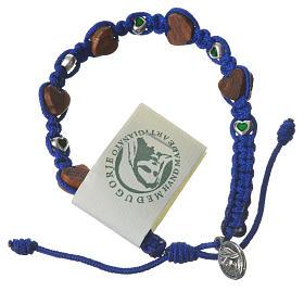 Pulsera olivo corazón Medjugorje cuerda azul s1