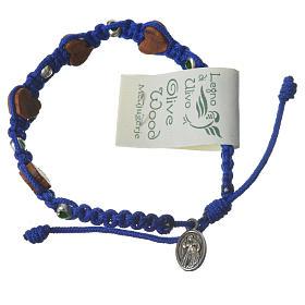 Pulsera olivo corazón Medjugorje cuerda azul s2