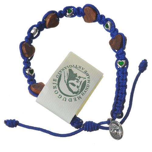 Pulsera olivo corazón Medjugorje cuerda azul 1