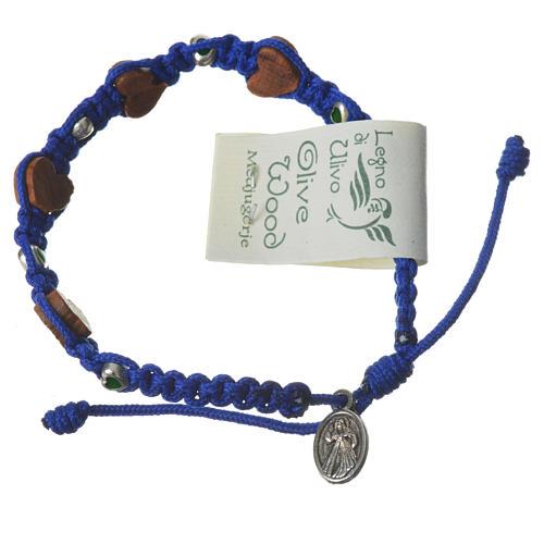 Pulsera olivo corazón Medjugorje cuerda azul 2