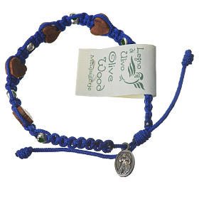 Bracciale ulivo cuori Medjugorje corda blu s2