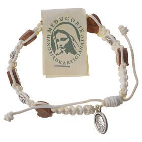 Bracelets, dizainiers: Bracelet Medjugorje olivier petites roses corde blanche