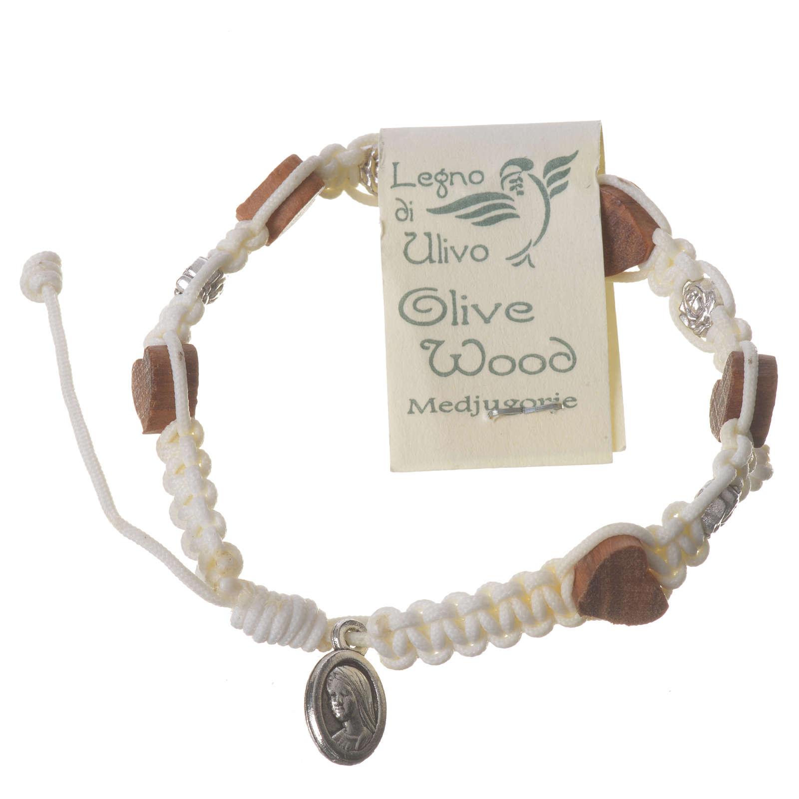 Bracciale Medjugorje olivo rosellina corda bianca 4