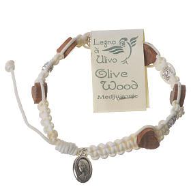 Bracciale Medjugorje olivo rosellina corda bianca s2