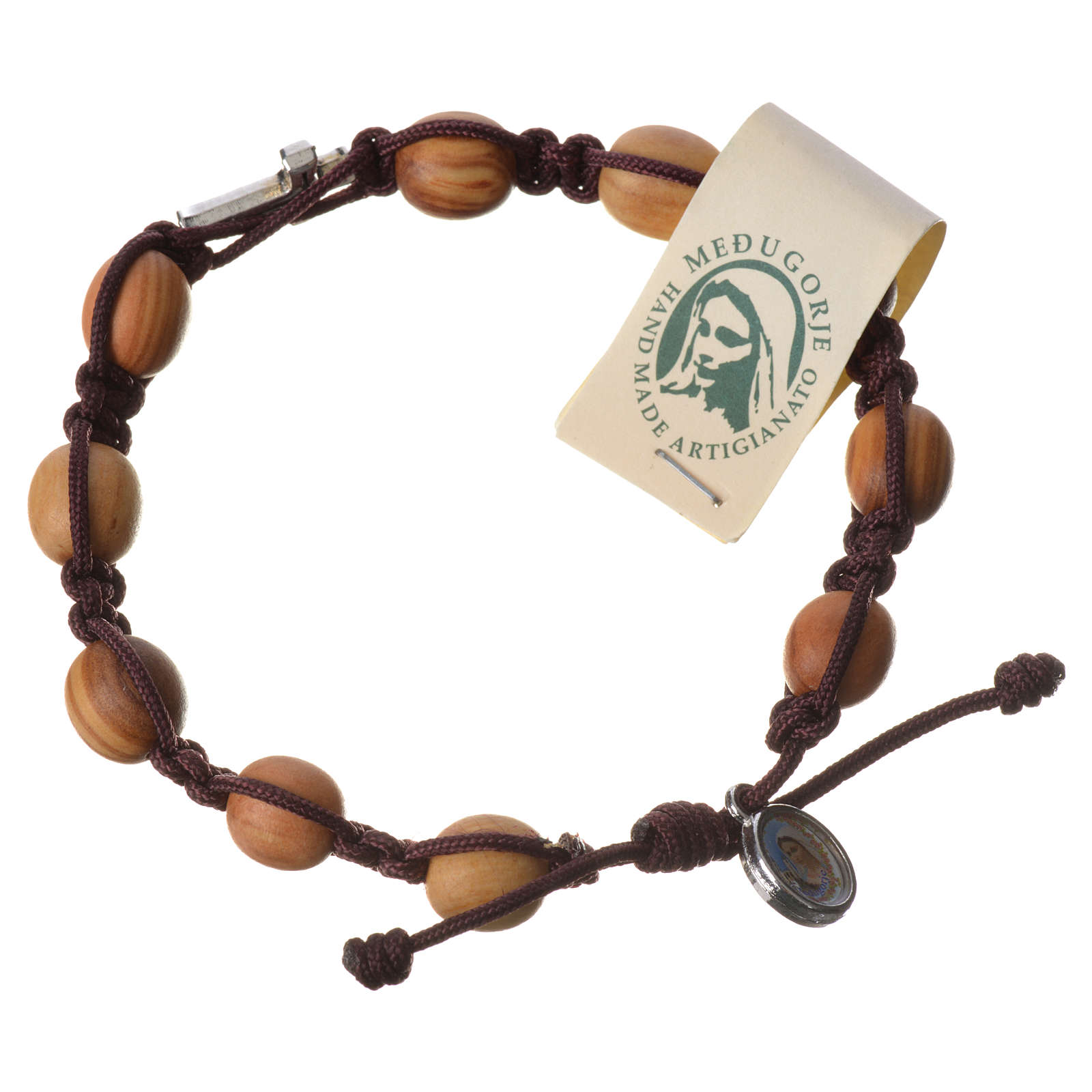 Bracelet with olive wood grains and cord 4