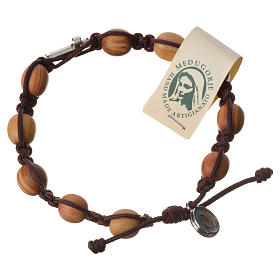 Bracelets, peace chaplets, one-decade rosaries: Bracelet with olive wood grains and cord