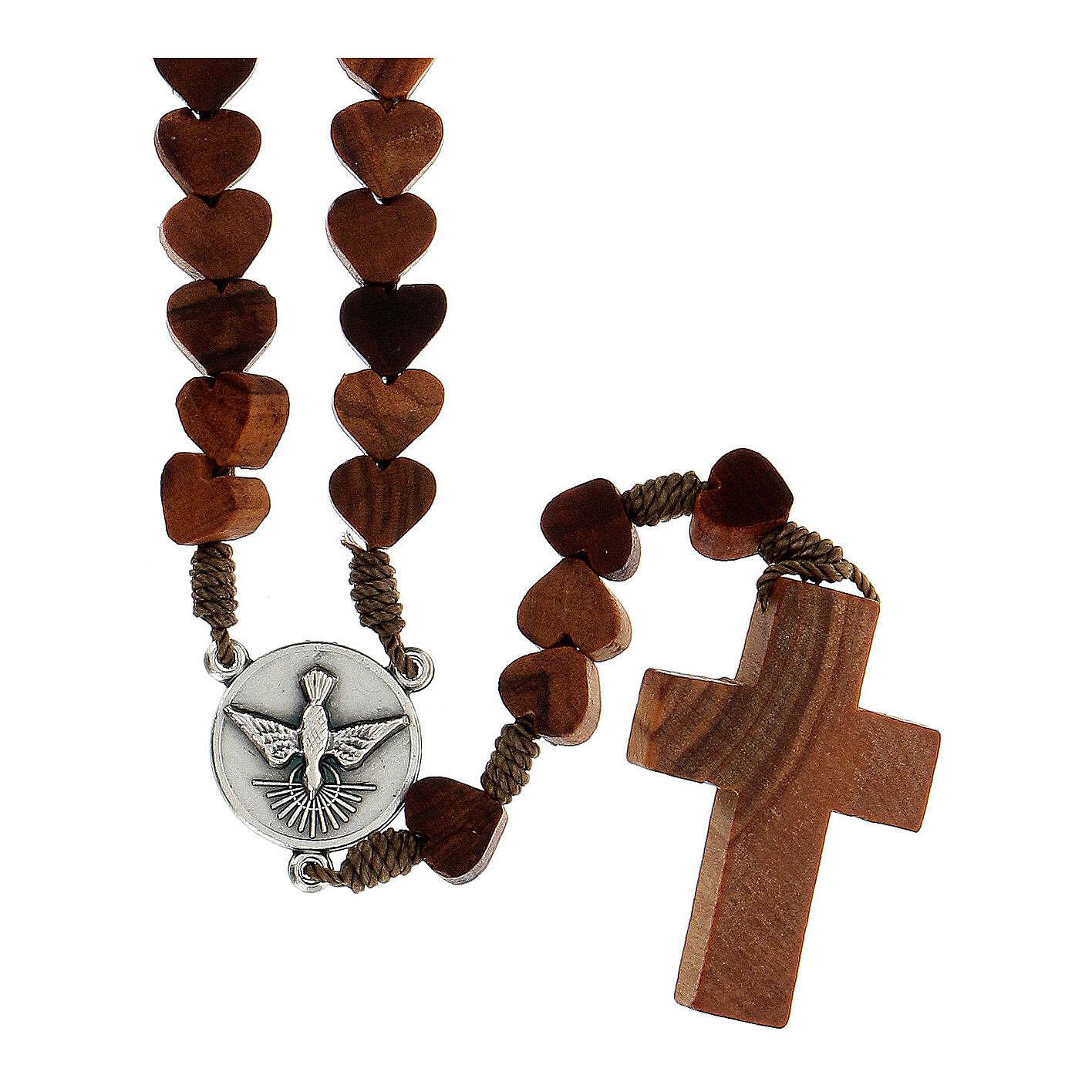Rosario de Medjugorje con granos en forma de corazón de olivo atados con cuerda 4