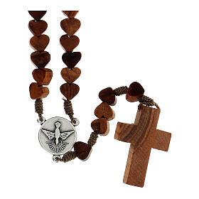 Rosario de Medjugorje con granos en forma de corazón de olivo atados con cuerda s2
