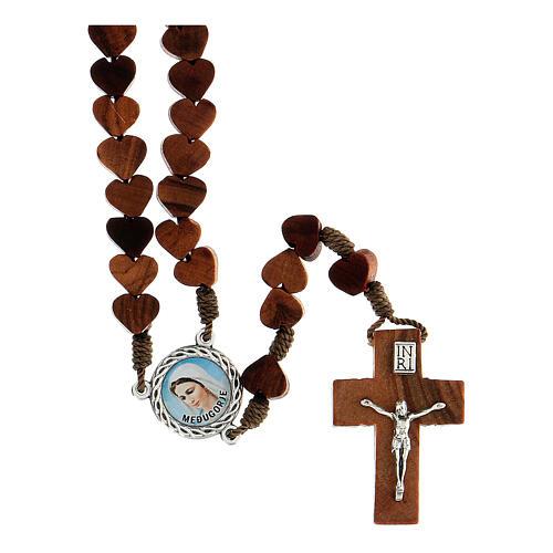 Rosario de Medjugorje con granos en forma de corazón de olivo atados con cuerda 1