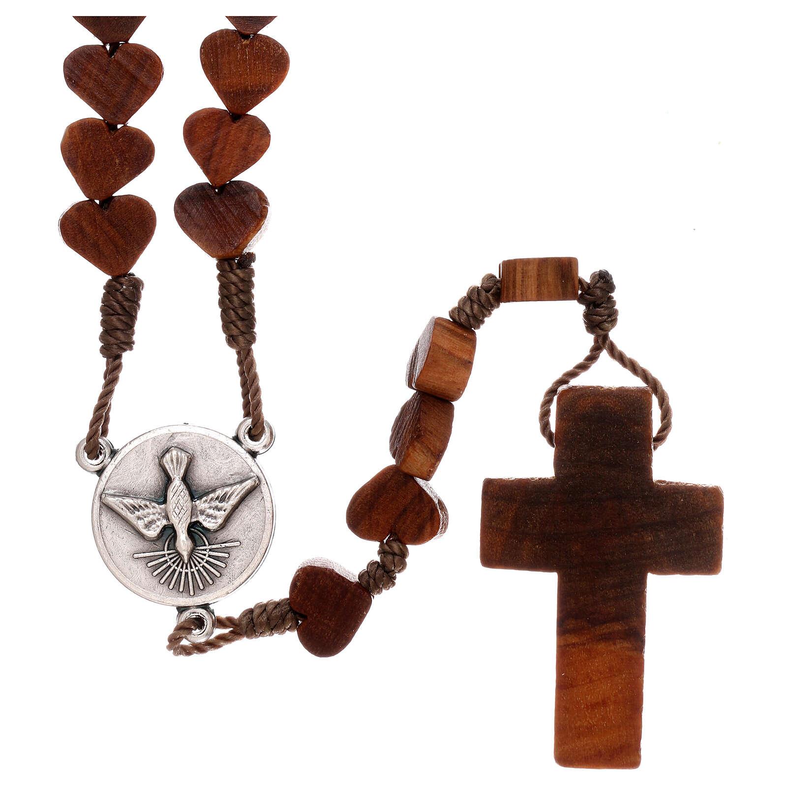 Terço Medjugorje madeira de oliveira corações e fio 4