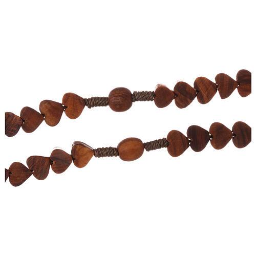 Terço Medjugorje madeira de oliveira corações e fio 3