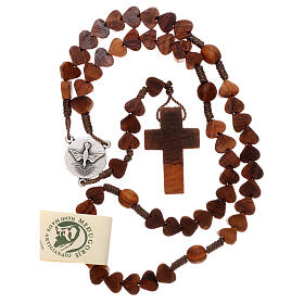 Rosary in Medjugorje olive wood, hearts and cord s4