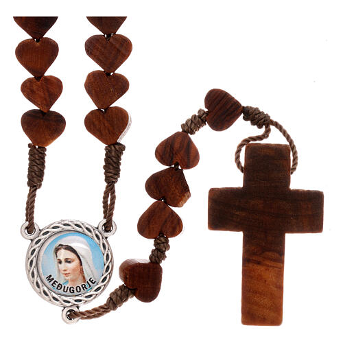 Rosary in Medjugorje olive wood, hearts and cord 1