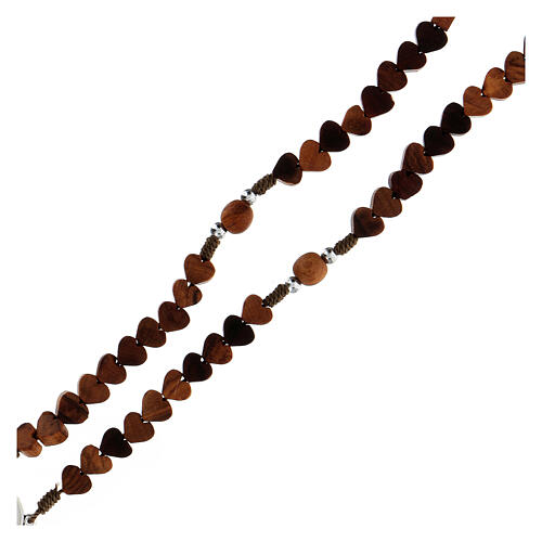 Rosary in Medjugorje olive wood, hearts and cord 3