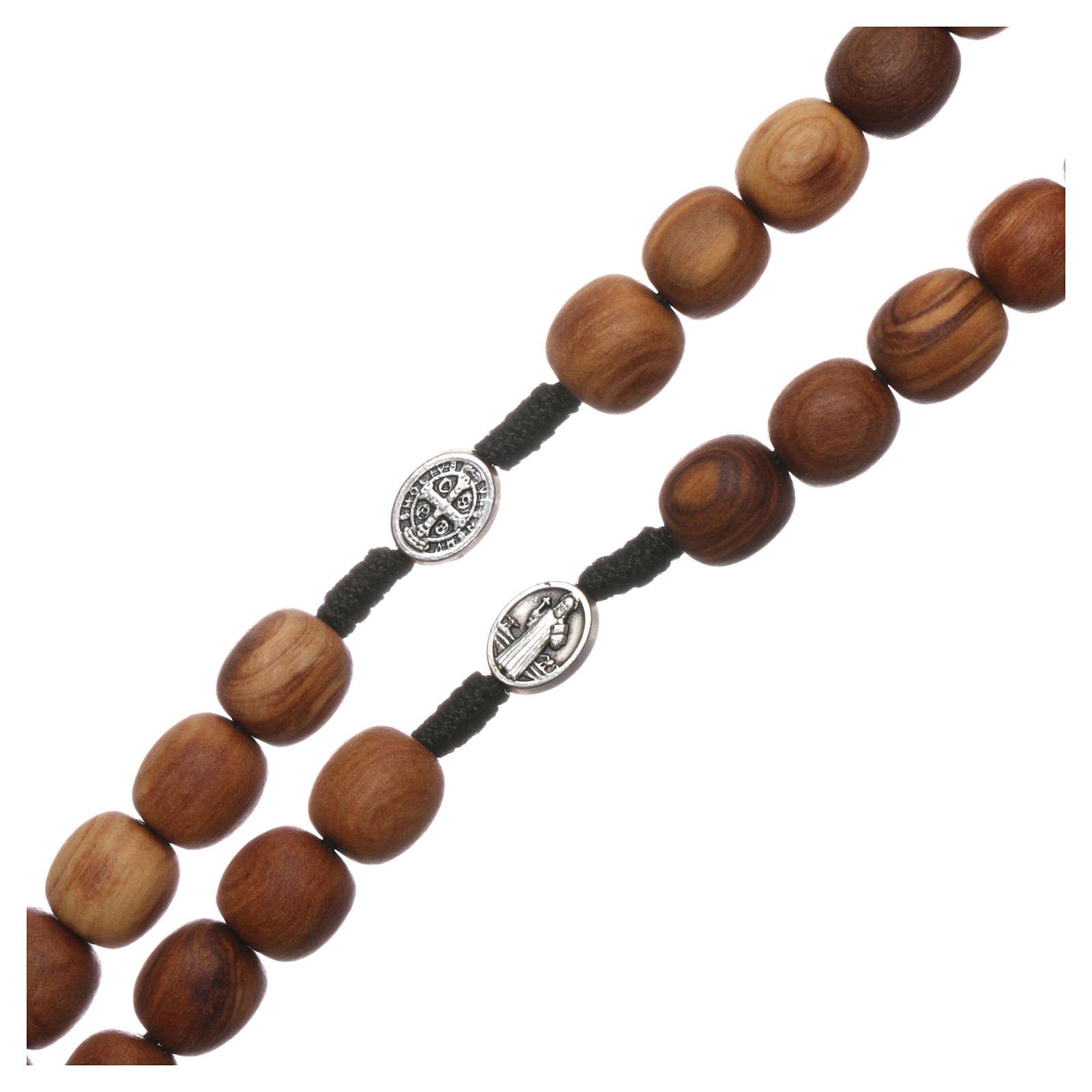 Różaniec drewno oliwne Medjugorje krzyż metal 5x3 4