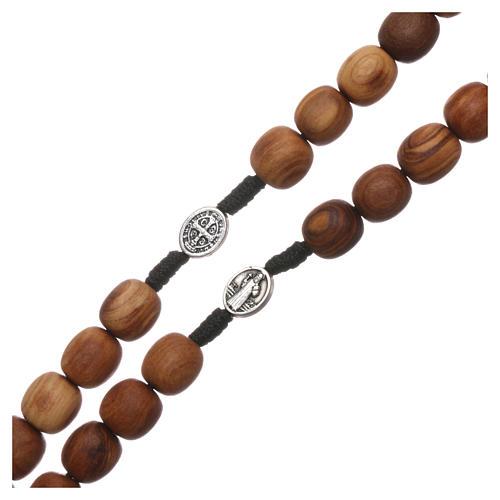 Różaniec drewno oliwne Medjugorje krzyż metal 5x3 3