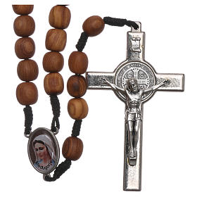 Terço Medjugorje madeira oliveira cruz metal 5x3 cm s1