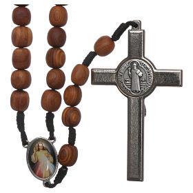 Terço Medjugorje madeira oliveira cruz metal 5x3 cm s2