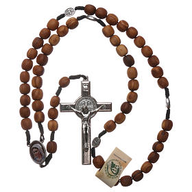 Rosary in Medjugorje olive wood and metal cross 5x3cm s4