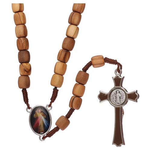 Rosary, grains in Medjugorje olive wood and metal cross 2