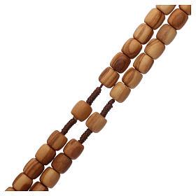Rosario madera olivo de  Medjugorje, con CRUZ en metal s3