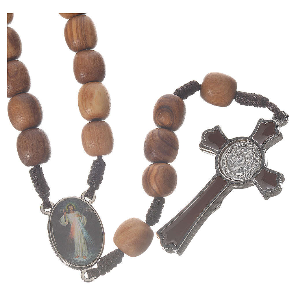 Rosario Medjugorje legno olivo croce metallo 4