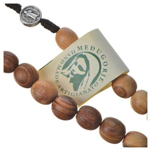 Rosario Medjugorje legno olivo croce metallo 8