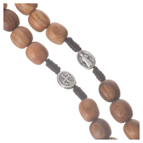 Rosario Medjugorje legno olivo croce metallo 11