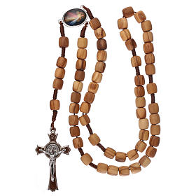 Rosary, grains in Medjugorje olive wood and metal cross s4