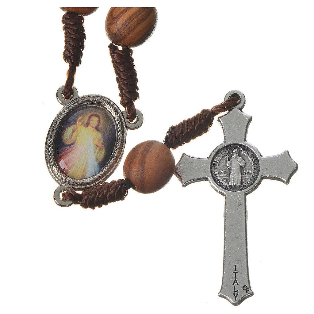 Medjugorje chaplet with grains in olive wood, metal medal 4