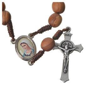 Medjugorje chaplet with grains in olive wood, metal medal s5