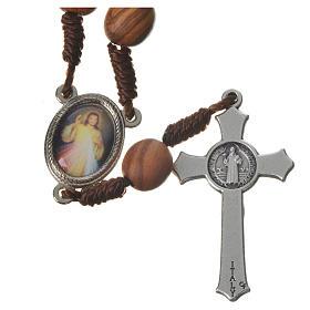Medjugorje chaplet with grains in olive wood, metal medal s6