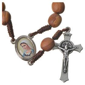 Medjugorje chaplet with grains in olive wood, metal medal s1