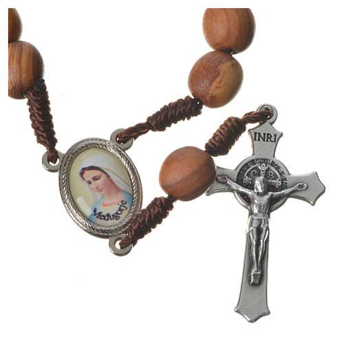 Medjugorje chaplet with grains in olive wood, metal medal 5