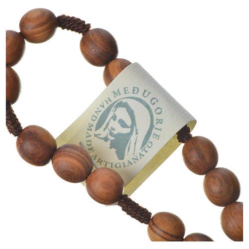 Medjugorje chaplet with grains in olive wood, metal medal 7