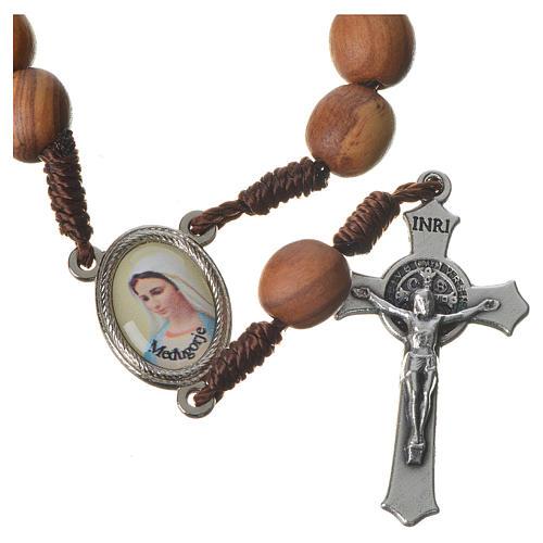 Medjugorje chaplet with grains in olive wood, metal medal 1