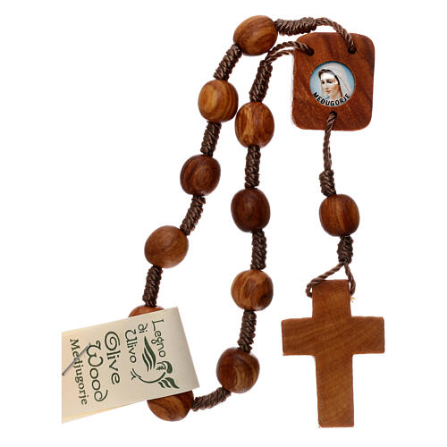 Medjugorje one-decade rosary in olive wood 1