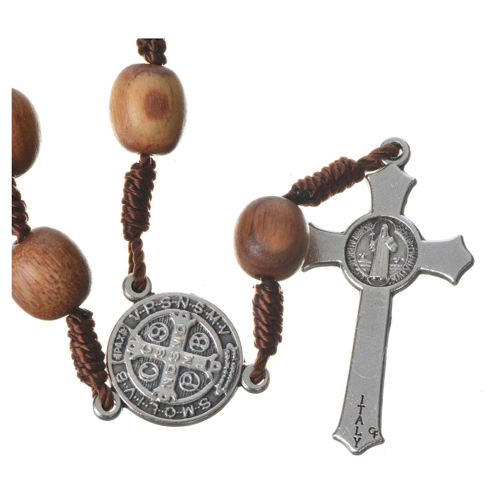 Chapelet dizainier Medjugorje bois d'olivier croix métal 4