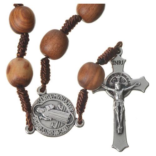 Terço dezena de Medjugorje em madeira de oliveira cruz metal 1