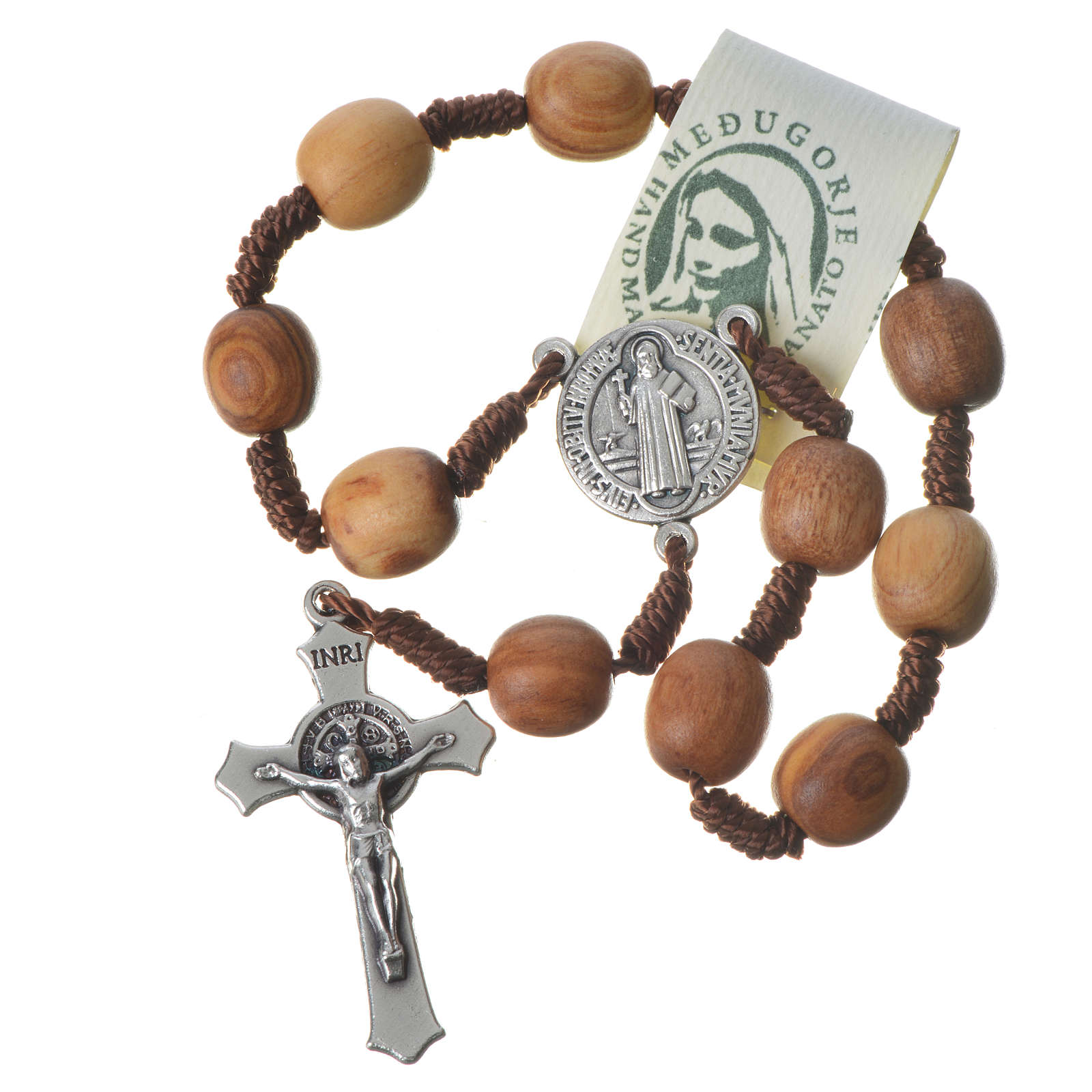 Medjugorje one-decade rosary in olive wood, metal cross 4