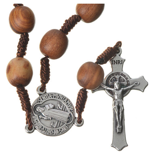 Medjugorje one-decade rosary in olive wood, metal cross 1